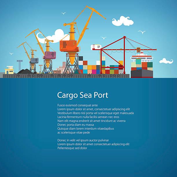 ilustrações de stock, clip art, desenhos animados e ícones de cargo seaport poster brochure - porto