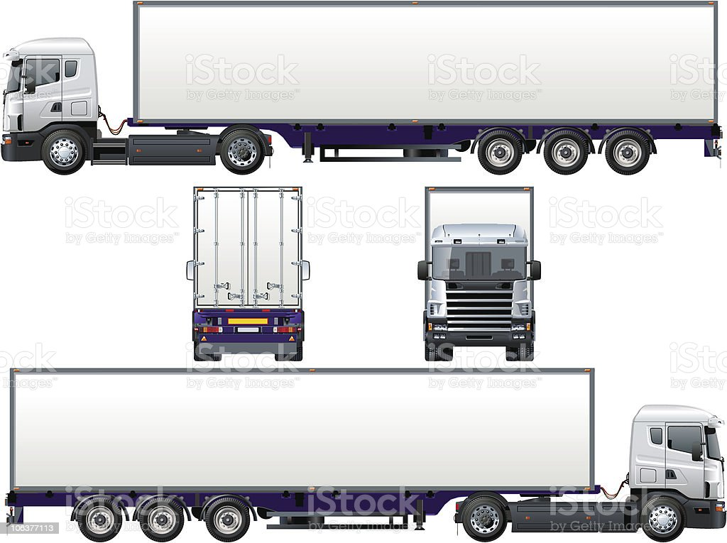 Cargo semi-truck vector art illustration