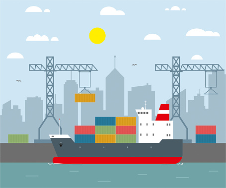 cargo ship and harbour flat design
