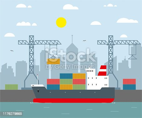 istock cargo ship and harbour flat design 1176279865