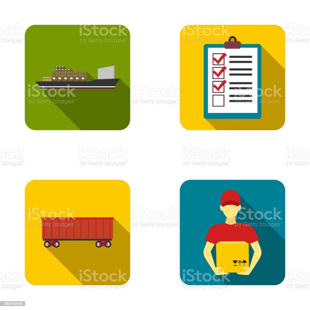 Navire cargo, documents, wagon, courier avec boîte. Icônes de collection de jeu logistique en plat style vecteur symbole stock illustration web. - clipart vectoriel de Carré - Composition libre de droits