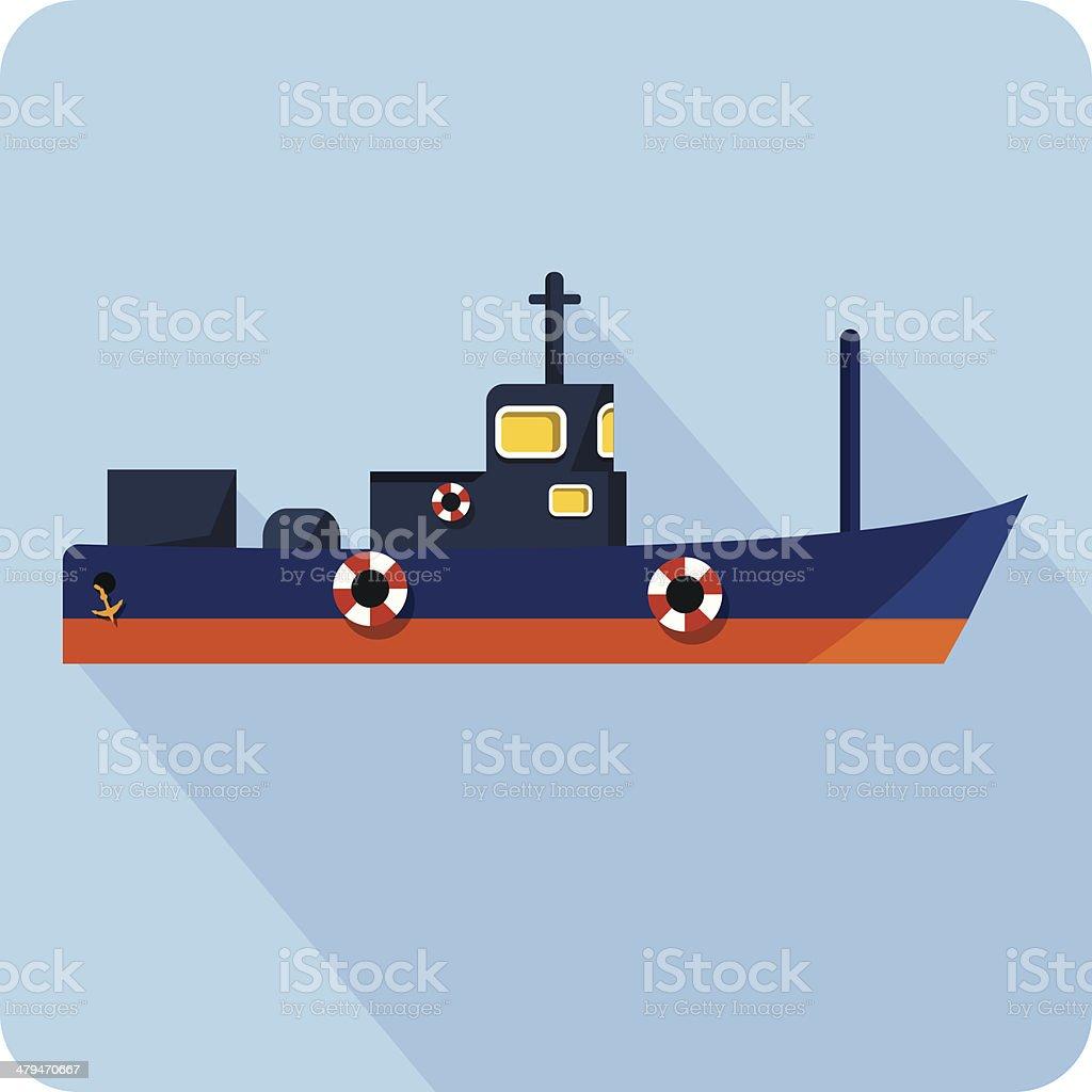 Cargo ship flat illustration vector art illustration