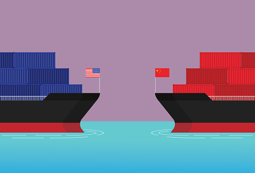 A Cargo ship from America confronts a cargo ship from China