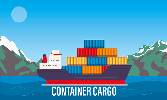 Cargo ship in bay