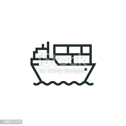 istock Cargo Ship Line Icon 1300711122