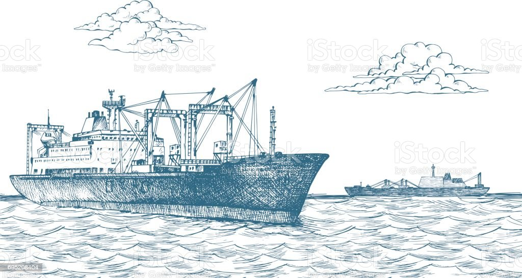 Cargo ship, reefer Baltic Forward vector art illustration