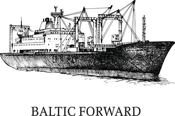 Cargo ship, reefer Baltic Forward Cargo ship, reefer Baltic Forward. Vector illustration. Traced image. Original drawings by hand, you can also find in my portfolio BITMAP folder. naval base stock illustrations
