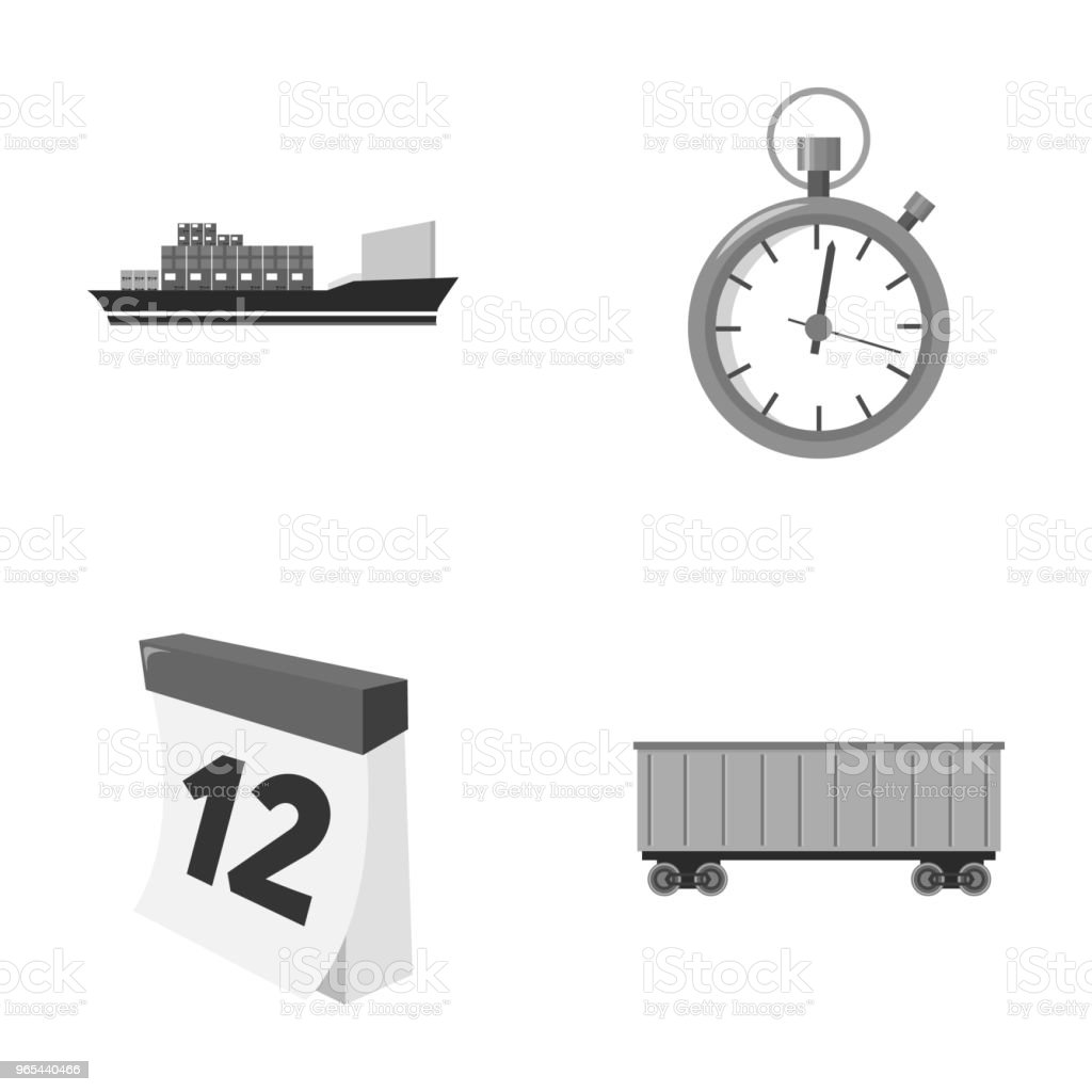 Frachtschiff, Stoppuhr, Kalender, Waggon. Logistik, stellen Sammlung Icons im Stil Monochrom Vektor Symbol Lager Abbildung Web. - Lizenzfrei Auto Vektorgrafik