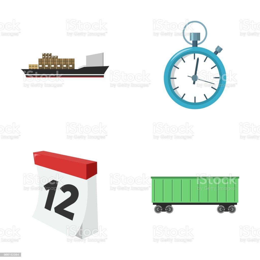 Lastfartyg, stoppur, kalender, järnväg bil. Logistik, ange samling ikoner i tecknad stil vektor symbol stock illustration web. - Royaltyfri Bil vektorgrafik