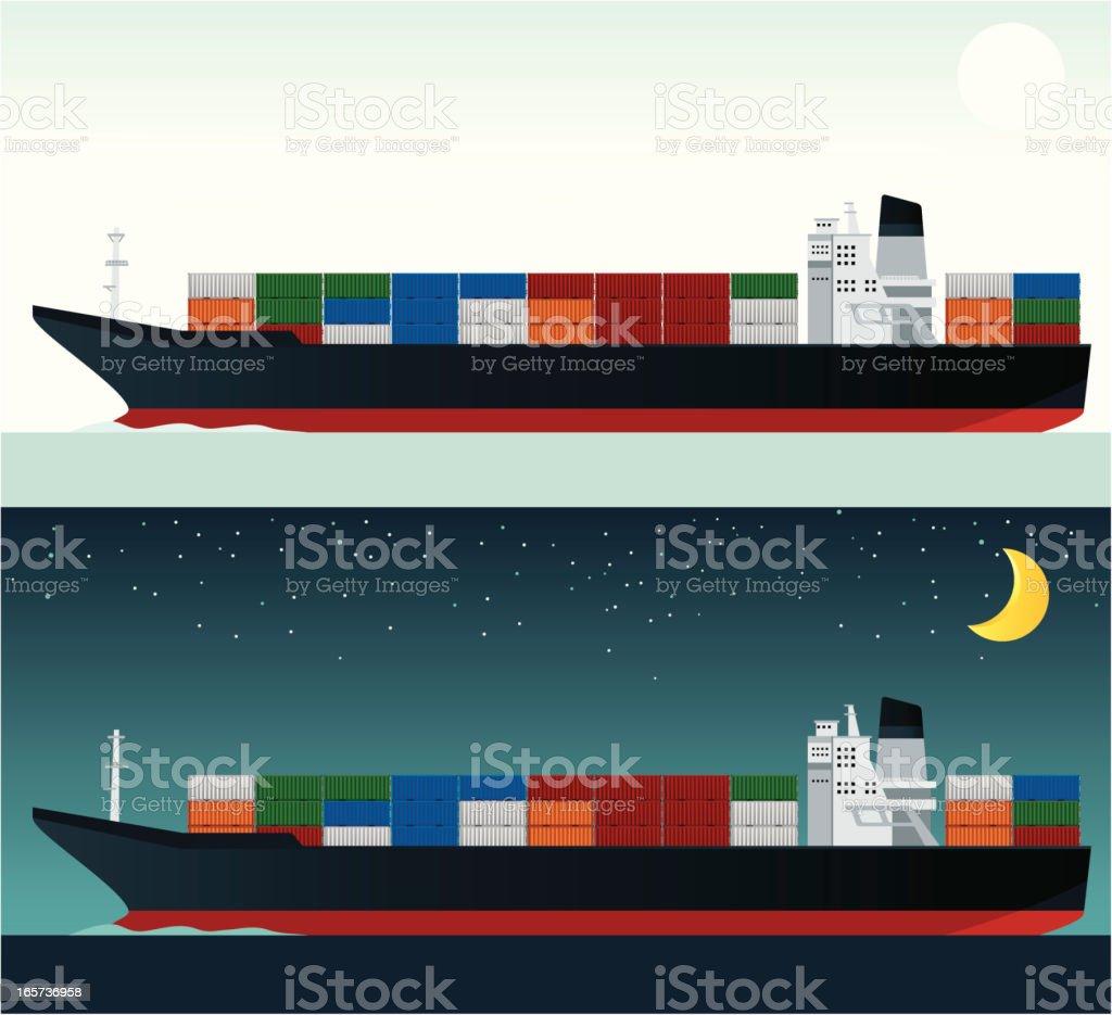 Cargo Ship vector art illustration