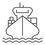 Cargo ship with containers thin line icon, delivery and logistics symbol, Freighter vector sign on white background, cargo boat icon in outline style mobile concept, web design. Vector graphics