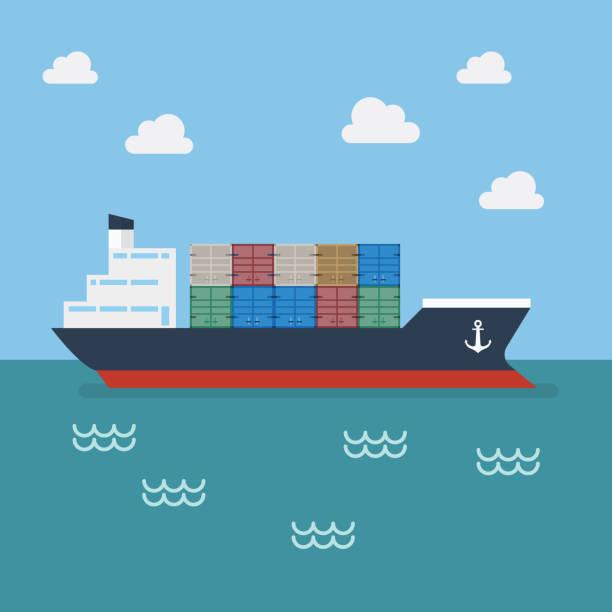 Royalty Free Cartoon Of A Container Ship Clip Art, Vector ...