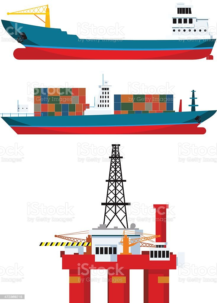 cargo ships and oil platform royalty-free cargo ships and oil platform stock vector art & more images of backgrounds