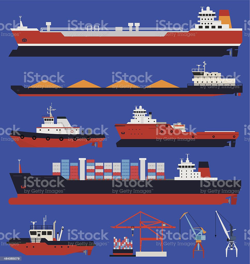 Cargo ships and tug boats vector art illustration