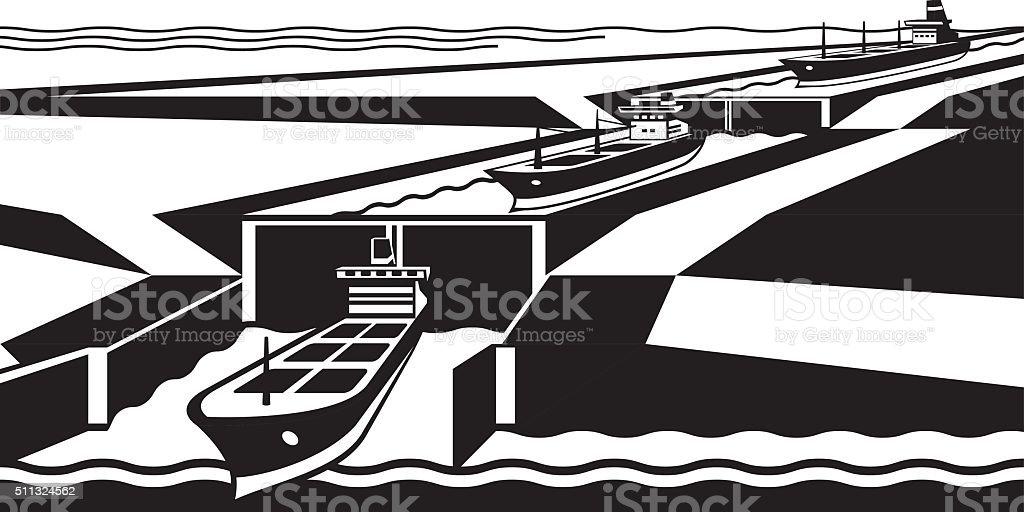 Cargo ships pass canal vector art illustration