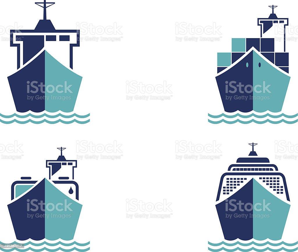 Cargo ships vector art illustration