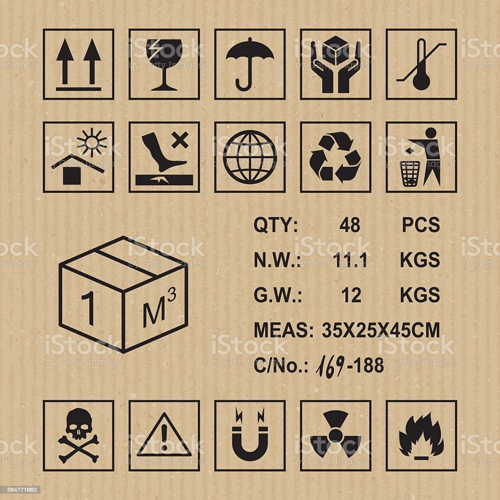 Cargo symbols on cardboard texture vector art illustration