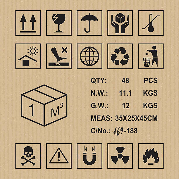Cargo symbols on cardboard texture Handling, packing and caution signs fragility stock illustrations