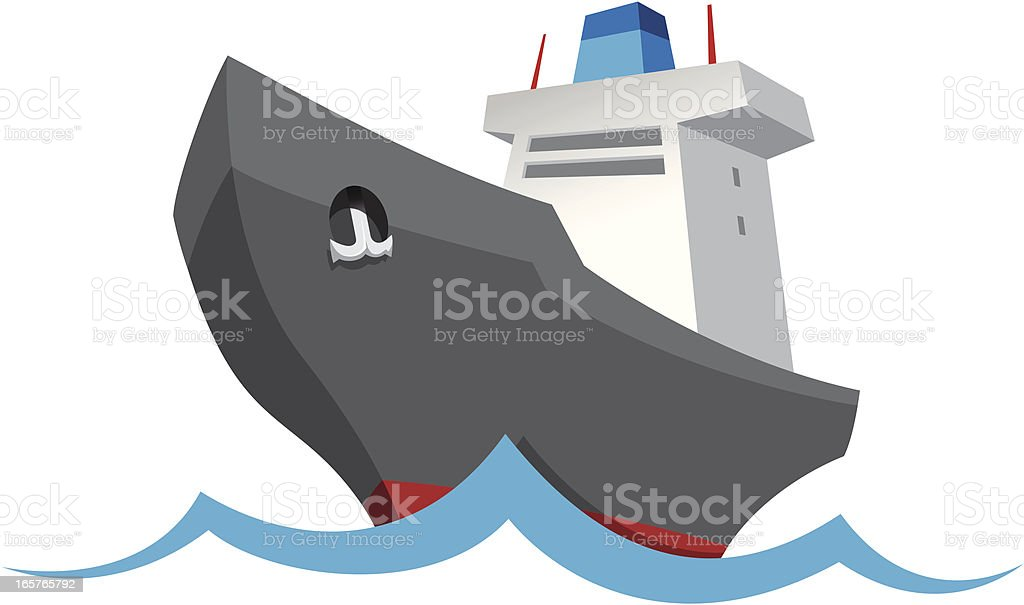 Cargo tanker ship isolated illustration royalty-free stock vector art
