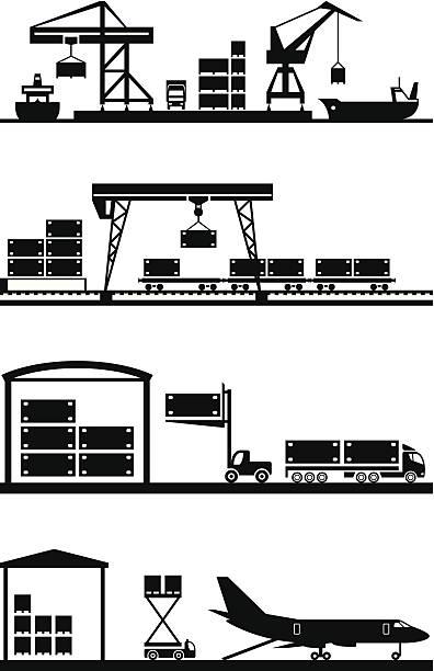 ilustrações de stock, clip art, desenhos animados e ícones de terminais de carga conjunto de ícones - porto