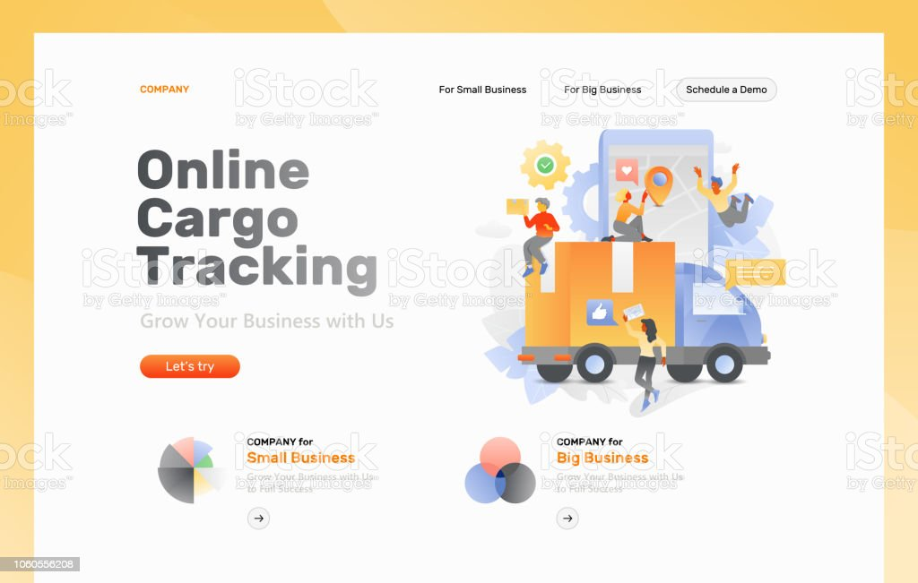 Cargo Tracking Web Page Stock Illustration - Download Image