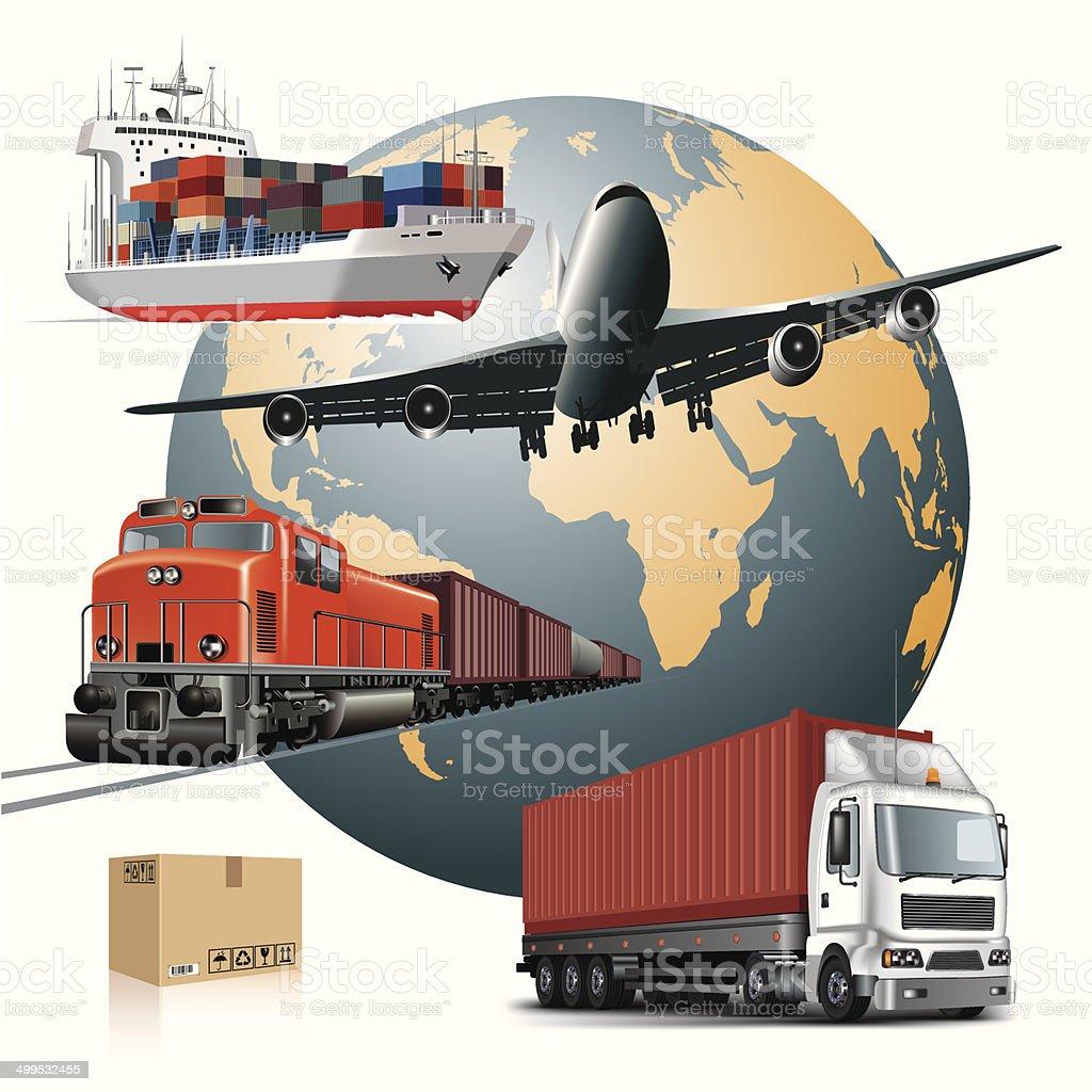 Cargo transport vector art illustration