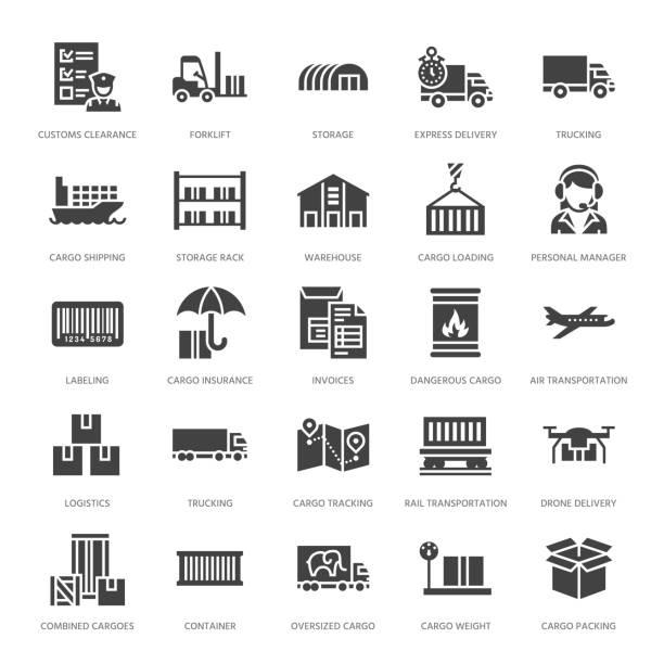 cargo transport flach glyphe symbole trucking, expressversand, logistik, versand, zoll, paket, tracking-symbole. transport unterschreibt frachtdienste. solide silhouette pixel perfekt 64 x 64 - kastenständer stock-grafiken, -clipart, -cartoons und -symbole