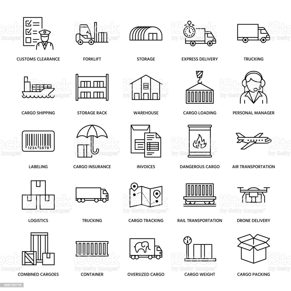 Cargo Transportation Flat Line Icons Trucking Express Delivery
