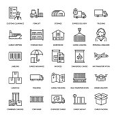 Cargo transportation flat line icons. Trucking, express delivery, logistics, shipping, customs clearance, cargoes package, tracking and labeling symbols. Transport thin signs for freight services