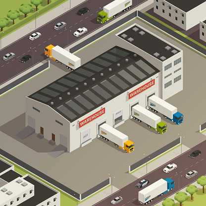 cargo transportation logistic delivery isometric composition