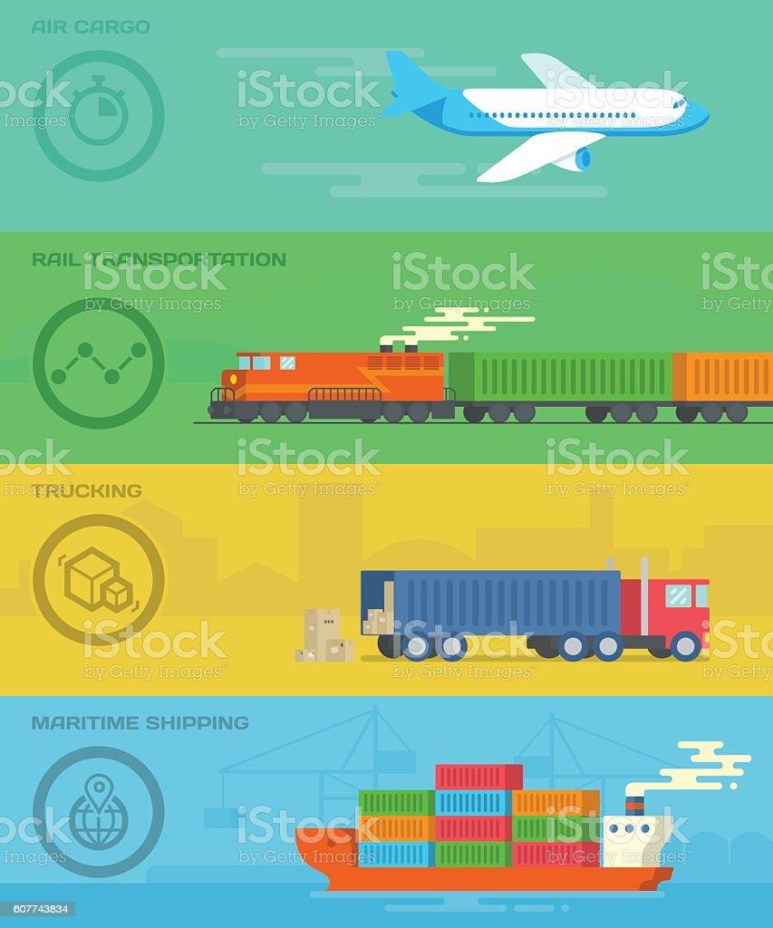 Cargo transportation. Logistic illustration concept. vector art illustration