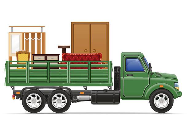 fracht lkw die lieferung und den transport von möbel-konzept-vec - funktionssofa stock-grafiken, -clipart, -cartoons und -symbole
