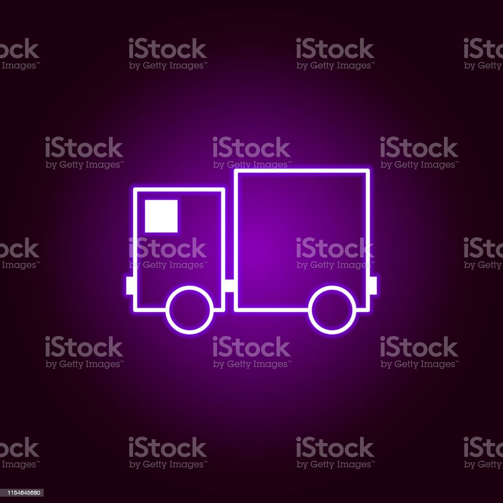 cargo truck facing outline icon in neon style. Elements of car repair...