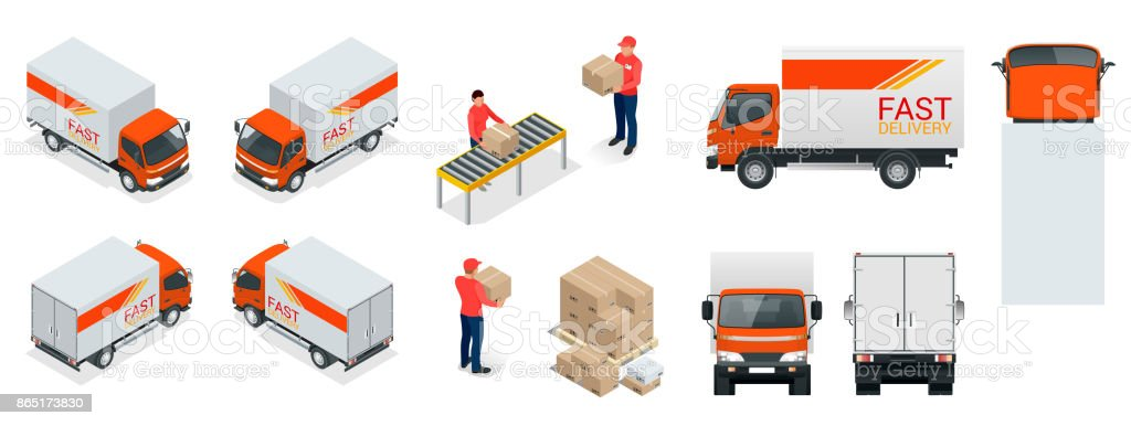 Cargo Truck transportation, delivery man, boxes. Fast delivery or logistic transport. Easy colour change. Template vector isolated on white View front, rear, side, top and isometric vector art illustration