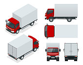 Cargo Truck transportation. Fast delivery or logistic transport. Easy color change. Template vector isolated on white View front, rear, side, top and isometric