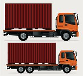 A set of two cargo truck. Zip contains AI, PDF and Hi-res Jpg.