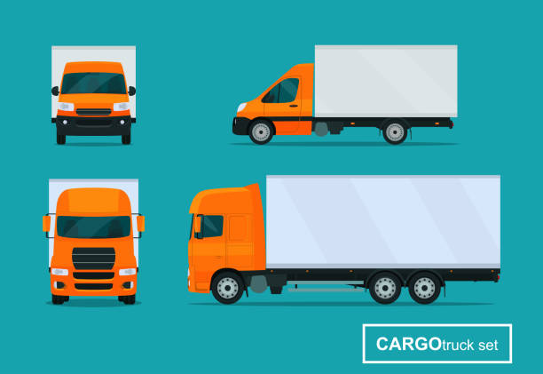 Cargo trucks set. Side view and front view. Vector flat style illustration. vector art illustration