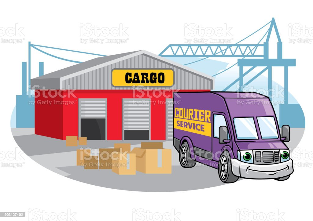 cargo van illustration at the port vector art illustration