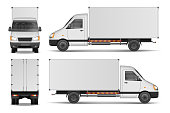 Cargo van isolated on white. City commercial delivery truck template. White vehicle mockup. vector illustration EPS 10