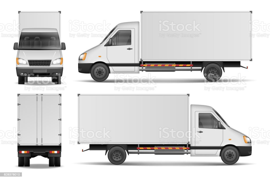 Cargo van isolated on white. City commercial delivery truck template. White vehicle mockup. vector illustration vector art illustration