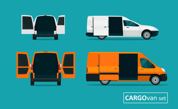 Cargo van set with open tailgate. Side view and back view. Vector flat style illustration. vector art illustration