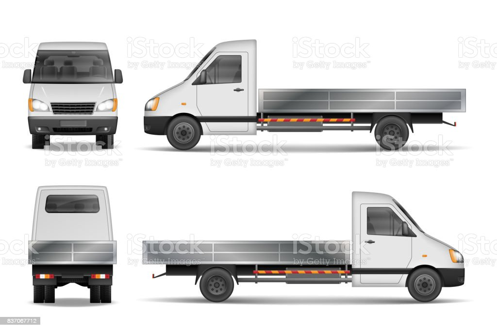 Cargo van vector illustration isolated on white. City commercial lorry. delivery vehicle mockup from side, front and rear view. Vector illustration vector art illustration