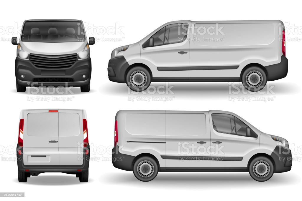 Cargo vehicle front, side and rear view. Silver delivery mini van isolated. Delivery Van Mockup for Advertising and Corporate transport. Vector illustration of Realistic car vector art illustration
