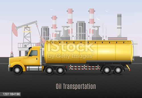 Yellow heavy truck with tank for oil transportation on background with refining factory realistic composition  vector illustration