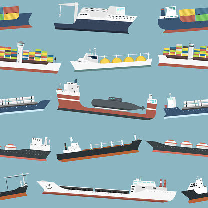 Cargo vessels and tankers shipping delivery bulk carrier freight boat seamless pattern background vector illustration