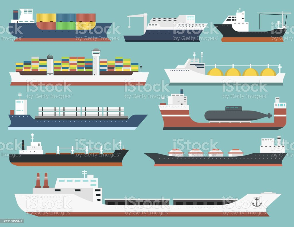 Cargo vessels and tankers shipping delivery bulk carrier train freight boat tankers isolated on background vector illustration vector art illustration