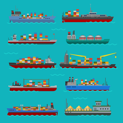 Cargo vessels and tankers shipping delivery bulk carrier train ferry freight industrial goods boat tankers isolated vector illustration