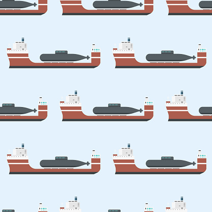 Cargo vessels and tankers shipping delivery bulk seamless pattern carrier train freight boat tankers background vector illustration