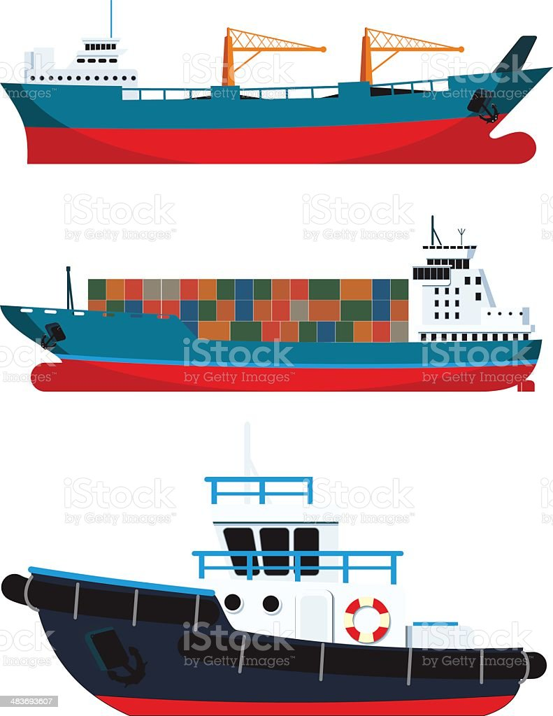 cargo Vessels and tugboat royalty-free stock vector art