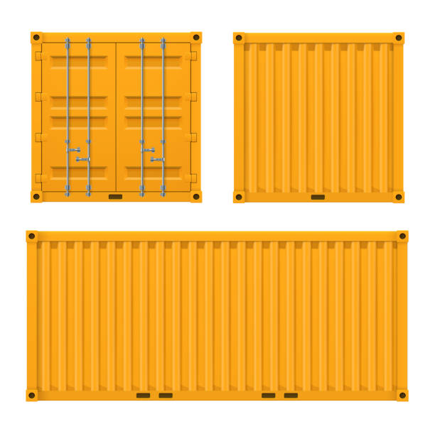 Cargo yellow container for shipping and sea export Cargo bright yellow container for shipping and sea export. Vector flat style cartoon illustration isolated on white background container stock illustrations